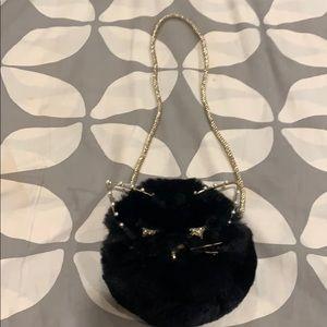 Cat face fur purse
